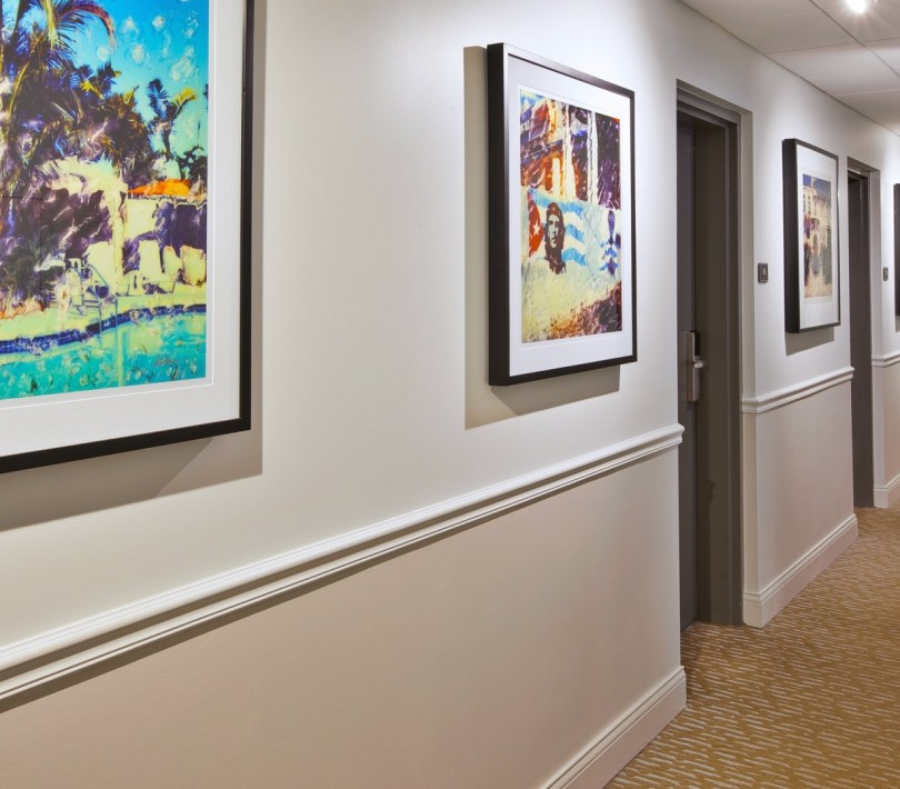 Paintings hung on hotel hallway