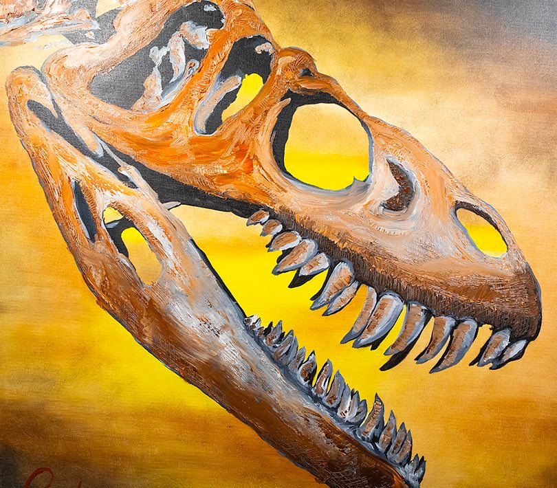 Painting of dinosaur bones