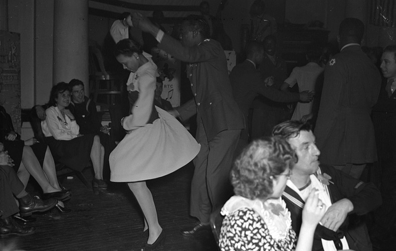 black and white vintage photo of people dancing