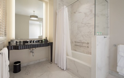 marble bathroom with a step in bathtub shower
