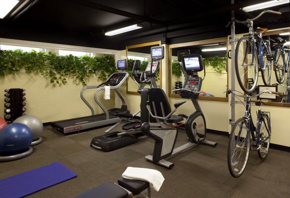 Fitness center with treadmill and medicine balls