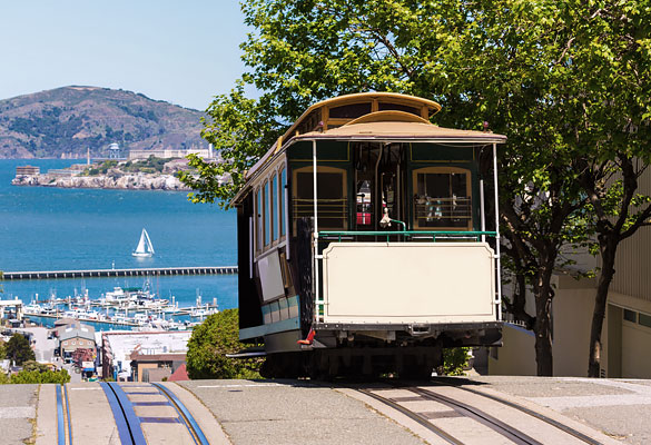 trolley on top of  hill with ocean view