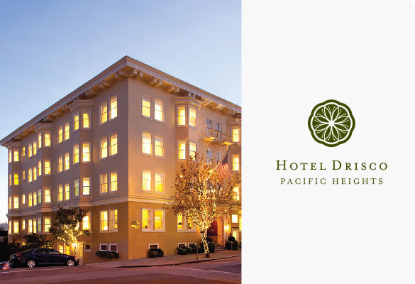 Street view of hotel during sunset and hotel logo