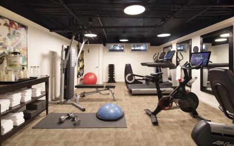 fitness center with peleton bike
