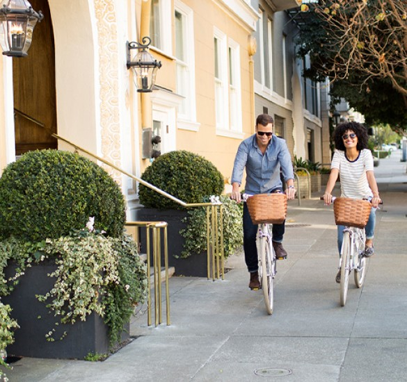 couple bicycling outside