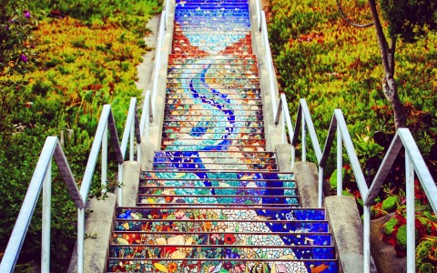 painted stairs with colorful designs