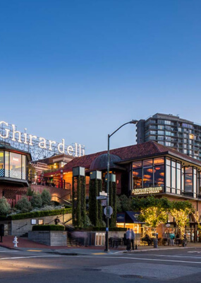 Ghirardelli chocolate factory building on street corner