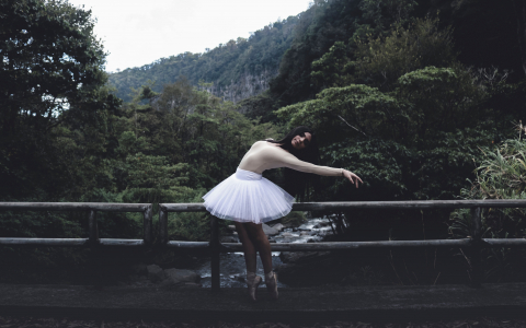 ballet dancer on bridge in nature