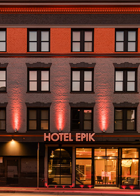 Hotel Epik Entrance with red lights