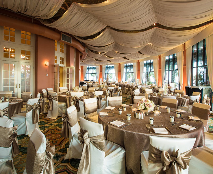 An elegant event area set up with white covered chairs, gold tablecloths and accents, and flower centerpieces