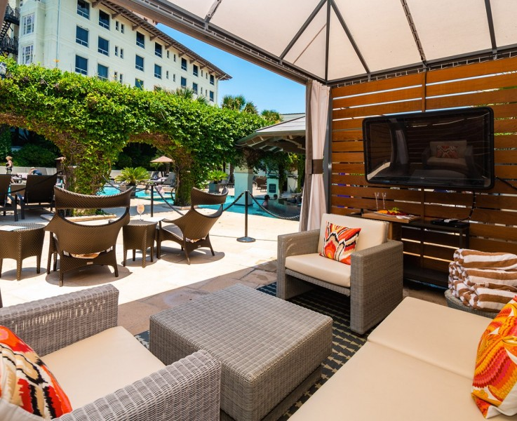 private cabana for rent at hotel galvez poolside