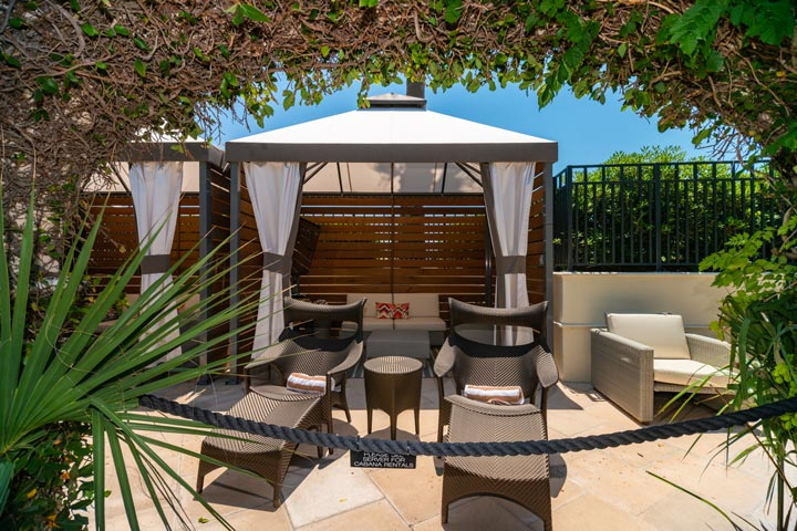 private cabana for rent at hotel galvez by the pool