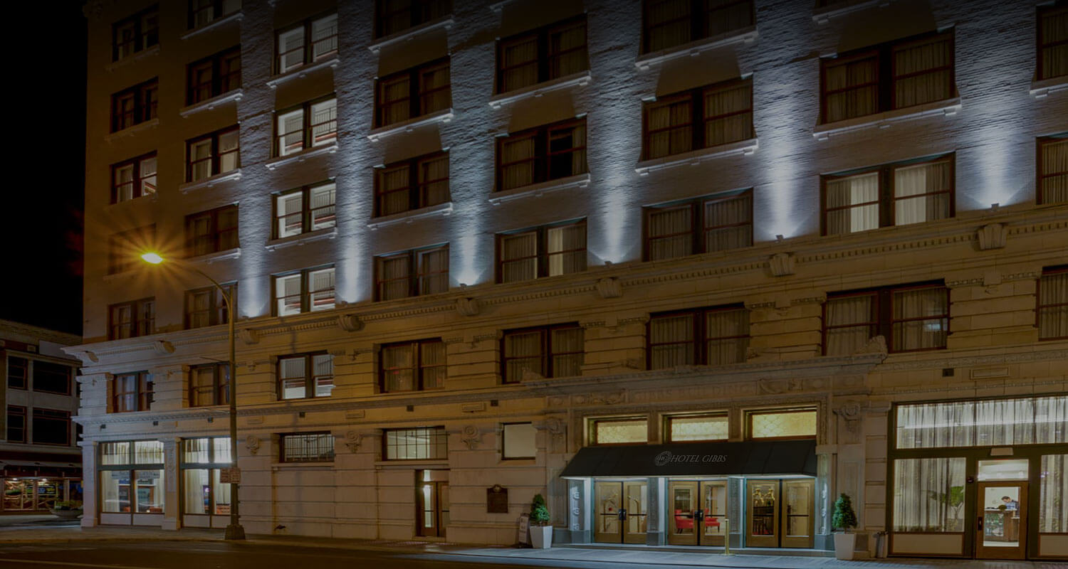 Hotel Gibbs exterior entrance at night