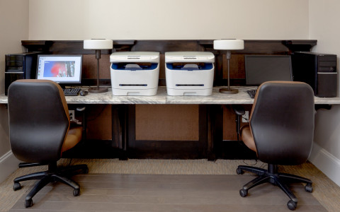 hotel gibbs business center with two printers