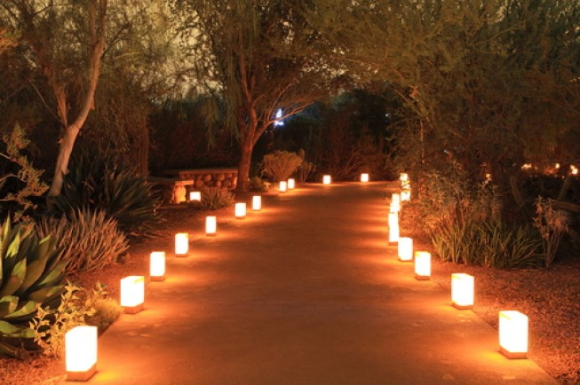 luminarias line a beautiful garden path