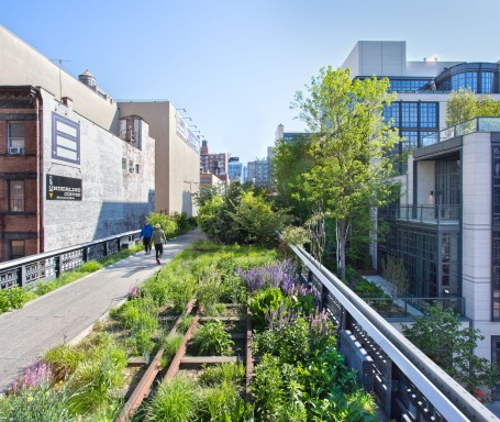 High Line track between buildings