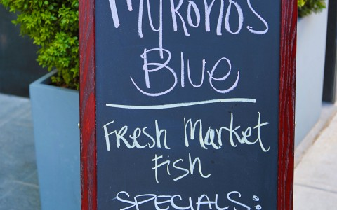 Mykonos Blue dinner specials board