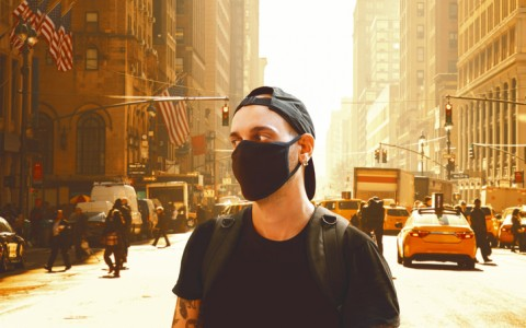 man wearing face mask in nyc