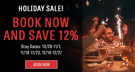 Holiday Sale! Book now and save 12%