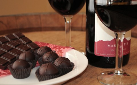 assortment of chocolates with wine