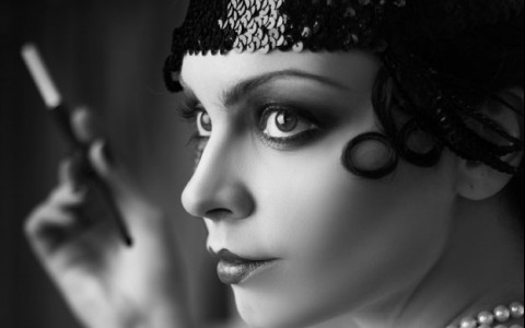 woman dressed up in flapper costume