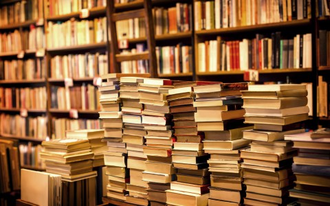 stacks of library books in front of a book shelf