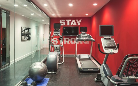 the fitness room with treadmills