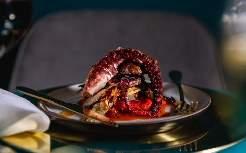 a dinner plate with grilled octopus