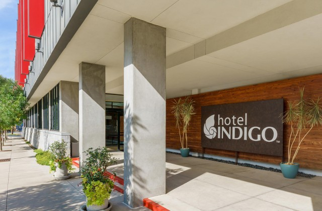 Hotel Indigo sign at the entrance of hotel