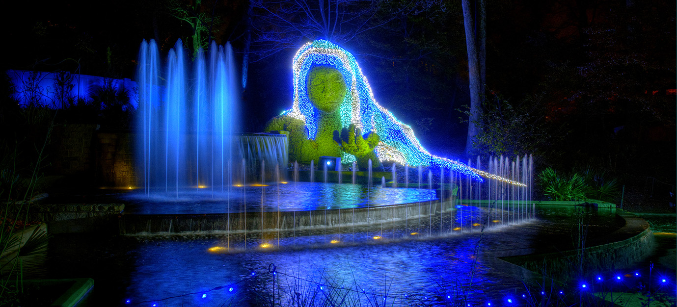 atlanta botanical garden lights woman