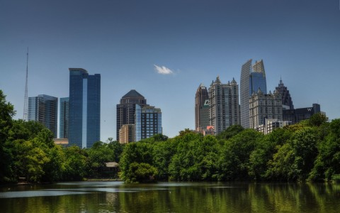 buildings around lake in atlanta