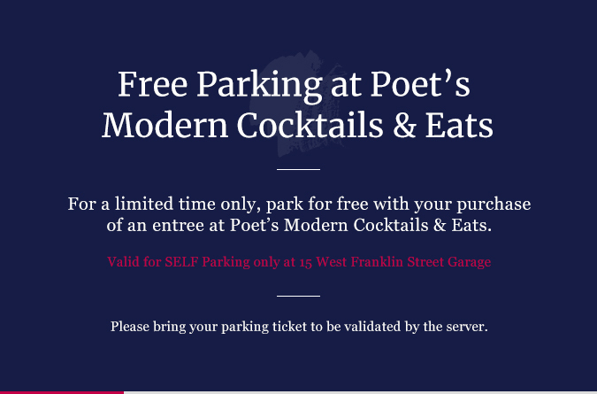 Free parking at Poet's