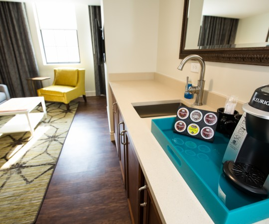 King Suite kitchenette is off of the living room.