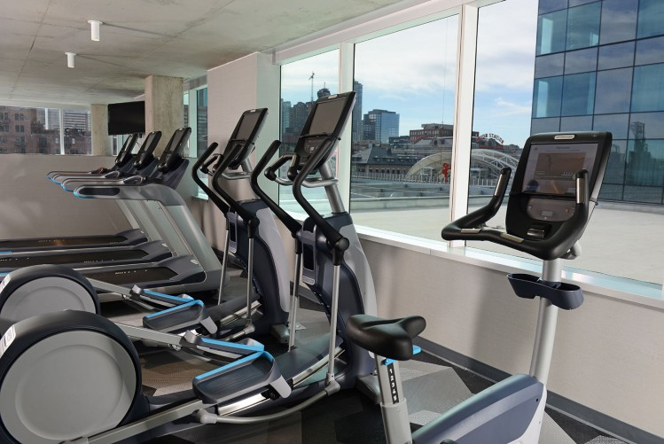 treadmills and ellipticals in fitness center
