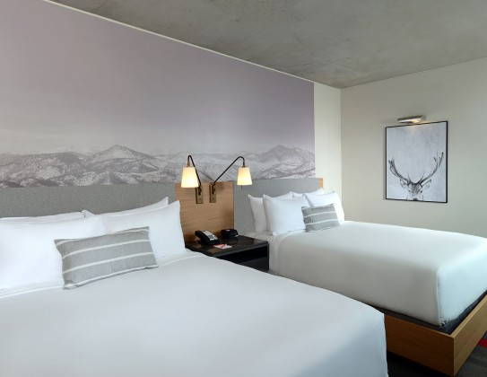 bedroom with two beds and mountain art