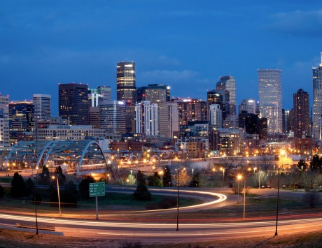 Denver Night Time View With City Lights