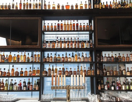 bar with multiple lines rows of liquer