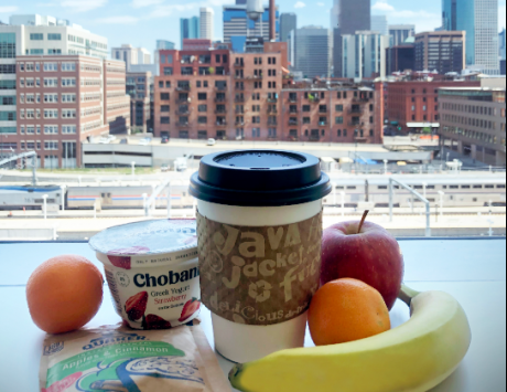 Breakfast to-go options with view of Downtown Denver