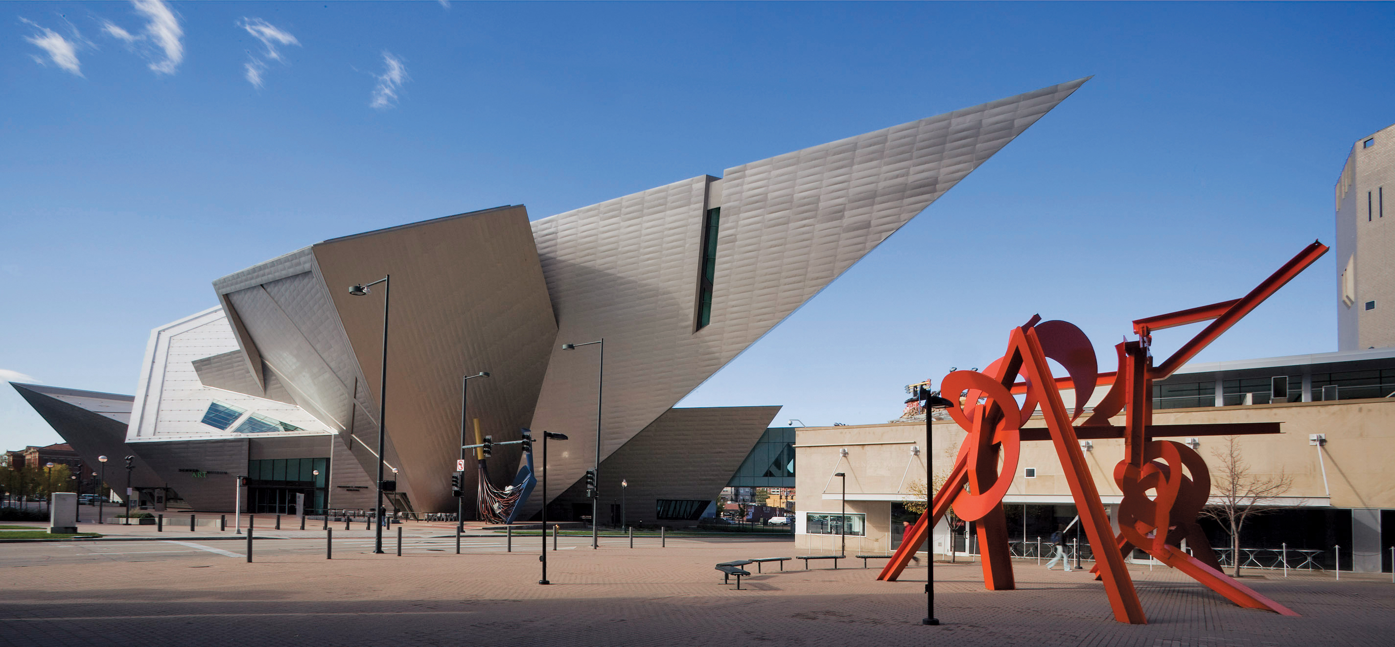 exterior of Denver Art Museum with sculpture