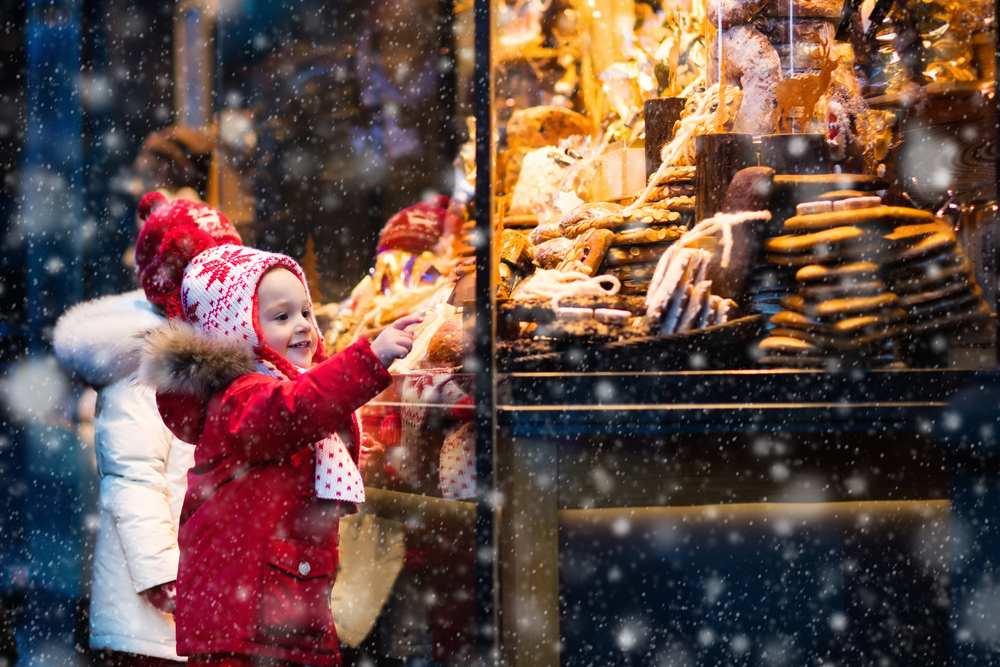 child window shopping at christmas market