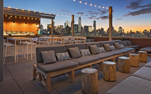 a rooftop seating area