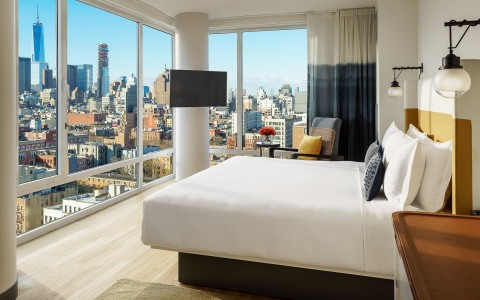 a guestroom with city views