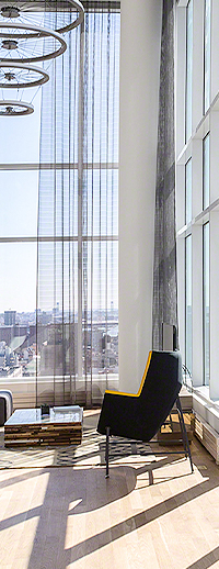 a suite with city views
