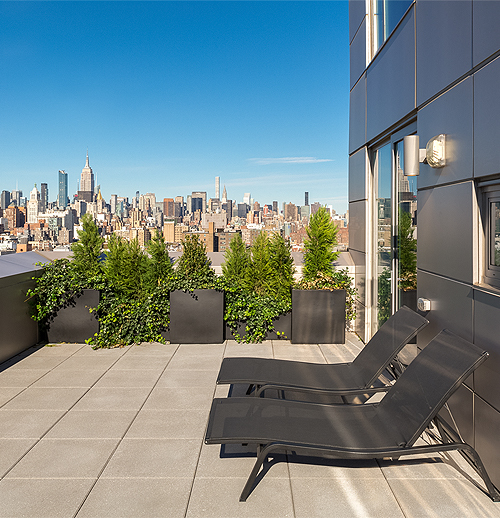 terrace with view of NYC