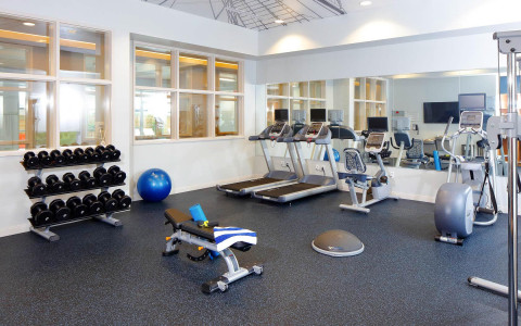 fitness center area with weights and machines