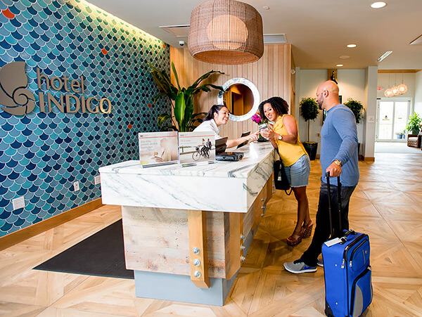 marble welcome desk at hotel indigo