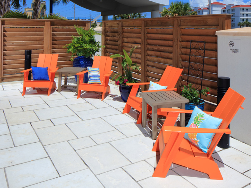 orange chairs in the courtyard