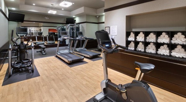 spacious fitness center with equipment