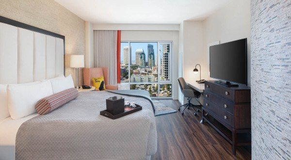 hotel room with city view
