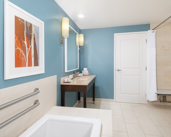 barthroom with blue walls and sit down shower